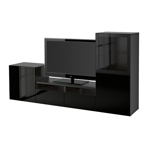 BESTÅ TV storage combination/glass doors, black-brown, Selsviken high gloss/black clear glass - 290.636.24