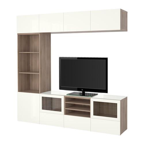 BESTÅ TV storage combination/glass doors, walnut effect light gray, Selsviken high gloss/white clear glass - 591.029.59