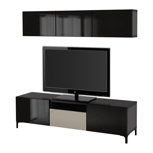 BESTÅ TV storage combination/glass doors, black-brown, Selsviken high gloss/beige smoked glass - 591.239.33