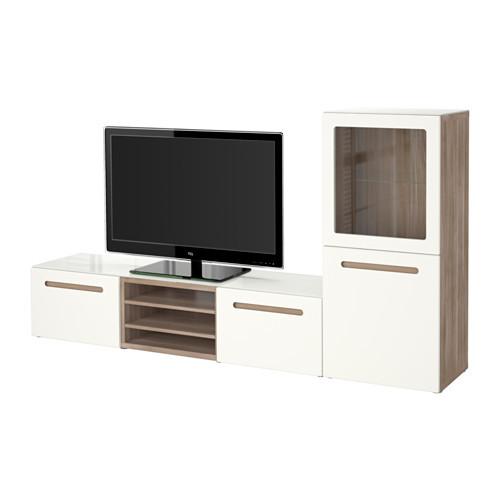 BESTÅ TV storage combination/glass doors, walnut effect light gray, Marviken white clear glass - 890.986.54