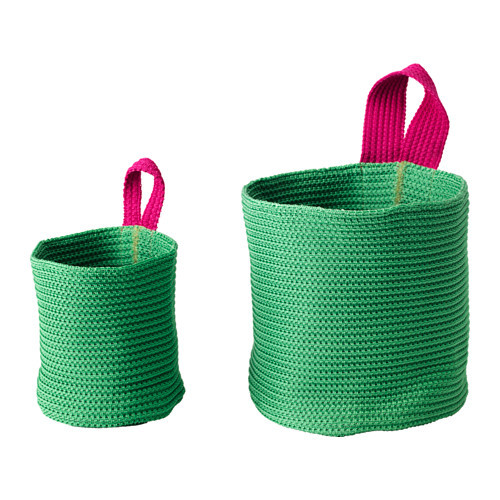 STICKAT Basket, set of 2, green, pink - 702.978.42