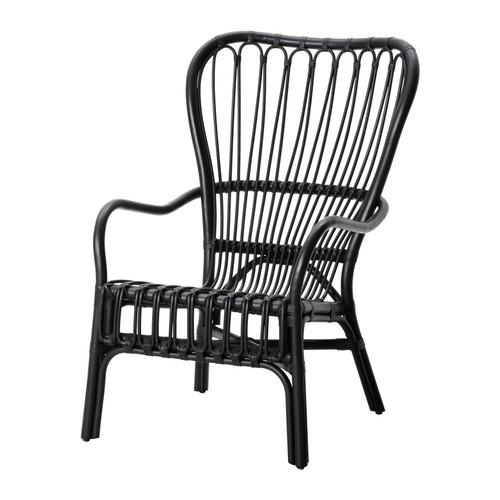 STORSELE Armchair, black, rattan - 202.016.82