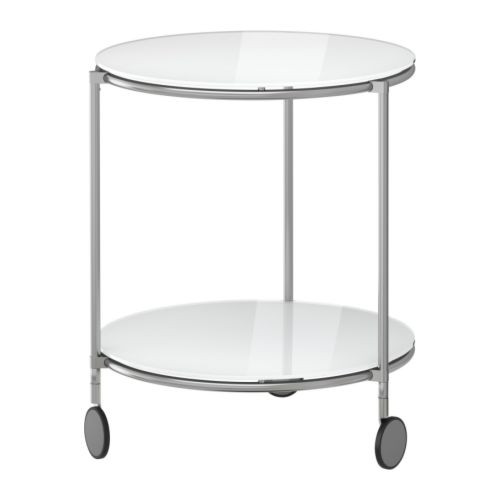 STRIND Side table, white, nickel plated - 201.571.08