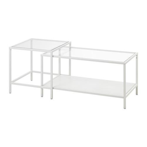 VITTSJÖ Nesting tables, set of 2, white, glass - 803.034.42