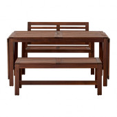 ÄPPLARÖ Table+2 benches, outdoor, brown stained - 390.539.31