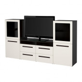 BESTÅ TV storage combination/glass doors, black-brown, Marviken white clear glass - 490.882.75