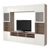 BESTÅ TV storage combination/glass doors, walnut effect light gray, Selsviken high-gloss/white frosted glass - 190.866.78