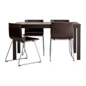 BJURSTA / BERNHARD Table and 4 chairs, brown-black, Kavat dark brown - 698.855.59