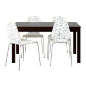 BJURSTA / VILMAR Table and 4 chairs, brown-black, stripe black - 999.153.62
