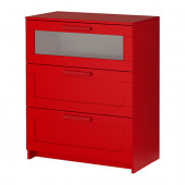 BRIMNES 3-drawer chest, red, frosted glass - 502.261.29