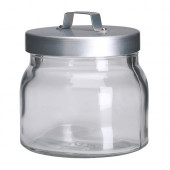 BURKEN Jar with lid, clear glass, aluminum - 500.814.52