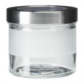DROPPAR Jar with lid, frosted glass, stainless steel - 001.125.40