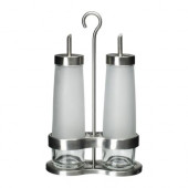 DROPPAR 3-piece oil & vinegar set, frosted glass, stainless steel - 601.136.12