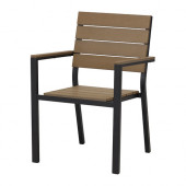 FALSTER Armchair, outdoor, black, brown - 802.405.67