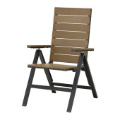 FALSTER Reclining chair, outdoor, black foldable black, brown - 002.405.71