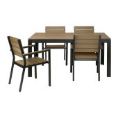 FALSTER Table and 4 armchairs, outdoor, black, brown - 599.322.31