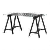 GLASHOLM / ODDVALD Table, glass, fingerprint pattern black - 990.020.24