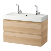 GODMORGON / BRÅVIKEN Sink cabinet with 2 drawers, white stained oak effect white stained oak - 199.032.40