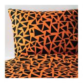 GULLTRATT Duvet cover and pillowcase(s), orange, black - 502.989.08
