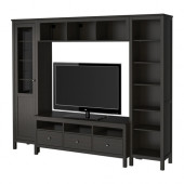 HEMNES TV storage combination, black-brown - 291.035.97