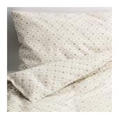 HJÄRTEVÄN Crib duvet cover/pillowcase, white, beige - 402.902.05