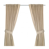 INGERT Curtains with tie-backs, 1 pair, beige - 302.578.57