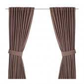 INGERT Curtains with tie-backs, 1 pair, brown - 102.578.58