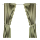 INGERT Curtains with tie-backs, 1 pair, green - 602.578.51