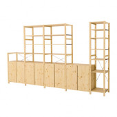 IVAR 5 sections with shelves/cabinets, pine - 790.314.28