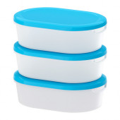 JÄMKA Food container, transparent white, blue - 101.660.71