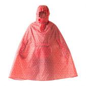 KNALLA Rain poncho, red, white - 302.834.27