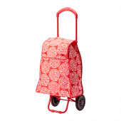 KNALLA Shopping bag with wheels, red, white - 002.836.93