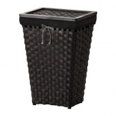 KNARRA Laundry basket with lining, black, brown - 502.428.41
