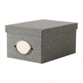 KVARNVIK Box with lid, gray - 702.566.67