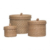 LJUSNAN Box with lid, set of 3, seagrass - 700.134.62