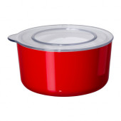 LJUST Jar with lid, red, clear - 701.933.59