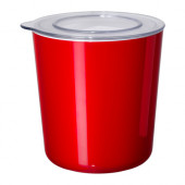 LJUST Jar with lid, red, clear - 301.933.61