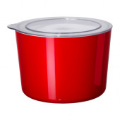LJUST Jar with lid, red, clear - 401.933.65