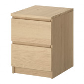 MALM 2-drawer chest, white stained oak veneer - 101.786.01