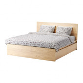 MALM High bed frame/4 storage boxes, white stained oak veneer, Luröy - 490.274.04