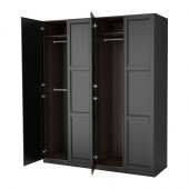 PAX Wardrobe, black-brown, Undredal black - 290.960.40