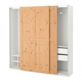 PAX Wardrobe, white, Hurdal light brown - 191.282.87