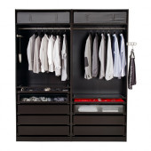 PAX Wardrobe, black-brown - 490.397.70