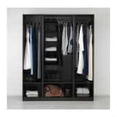 PAX Wardrobe, black-brown - 491.285.73