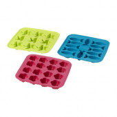 PLASTIS Ice cube tray, green/pink, turquoise - 601.381.13
