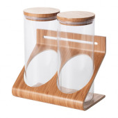 RIMFORSA Holder with containers, glass, bamboo - 802.820.72