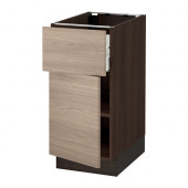 SEKTION Base cabinet with drawer/door, brown Maximera, Brokhult walnut - 990.400.97