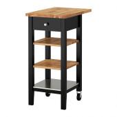 STENSTORP Kitchen cart, black-brown, oak - 202.198.37