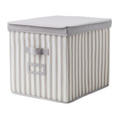 SVIRA Box with lid, gray, white stripe - 603.002.94