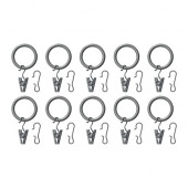 SYRLIG Curtain ring with clip and hook, silver color - 202.172.25